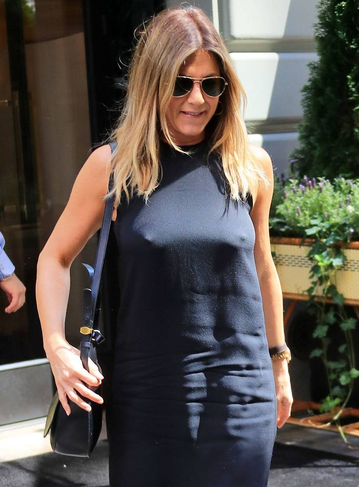 Jennifer Aniston out and about in a LBD in New York.