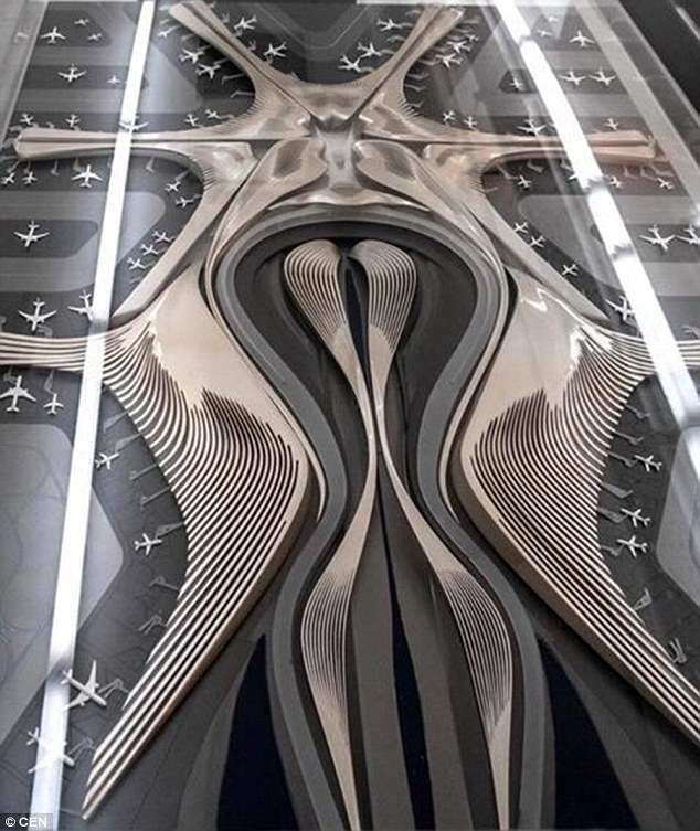 Yang-Jinlin-s-post-of-a-model-of-Zaha-Hadid-s-design-for-Beijing-Airport-Terminal-1